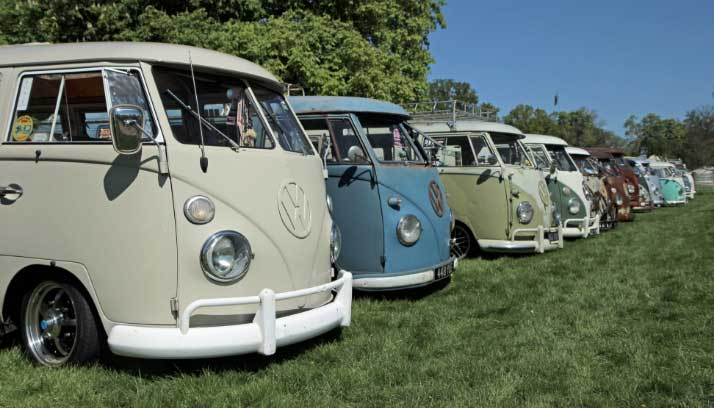 Display of Volkswagen bus models